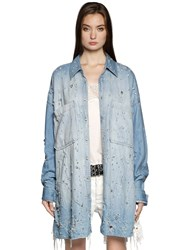 Faith Connexion Embellished Distressed Denim Shirt