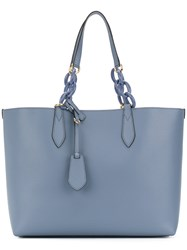Burberry Lavenby Reversible Tote Women Calf Leather One Size Blue