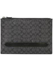 Coach Manhattan Pouch In Signature Coated Canvas Grey