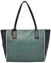 Fossil Emma Colorblock Leather Tote Arctic Mist