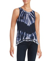 Red Haute Tie Dye Fringe Linen Blend Tank Top Navy