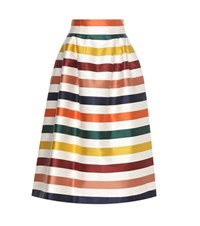 Carolina Herrera Striped Cotton And Silk Midi Skirt Multicoloured