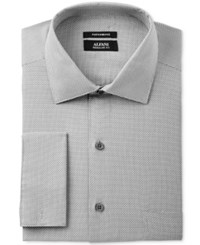 Alfani Men's Classic Regular Fit Performance Stretch Easy Care French Cuff Gray Step Twill Dress Shirt Only At Macy's