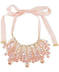 Carolee Gold Tone Beaded Ribbon Statement Necklace Pink