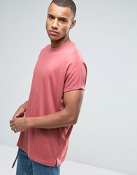 Asos Super Oversized Longline Heavyweight T Shirt With Roll Sleeve In Pink Henna