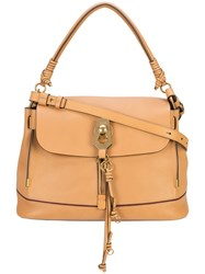 Chloe Owen Flap Tote Bag Leather Brown