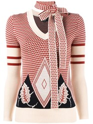 Creatures Of The Wind Jacqaurd Choker Jumper Red