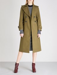 Moandco. Double Breasted Wool Blend Coat Chive