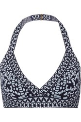 Herve Leger Jacquard Knit Bandage Triangle Bikini Top Midnight Blue