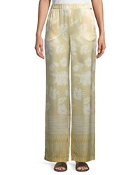 St. John Outlined Painted Floral Hammered Silk Pants White Pattern