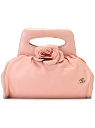 Chanel Vintage Camelia Applique Clutch Pink And Purple