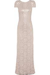 Badgley Mischka Metallic Layered Embroidered Lace And Sequined Tulle Gown
