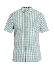 Burberry Short Sleeve Gingham Cotton Shirt Green Multi