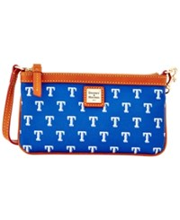 Dooney And Bourke Texas Rangers Large Slim Wristlet Blue