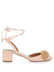 Aquazzura Monaco Bead Embellished Block Heel Suede Pumps Light Pink