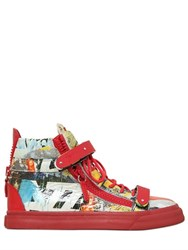 Giuseppe Zanotti 20Mm Magazine Printed Leather Sneakers