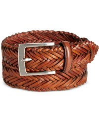 Tasso Elba Men's Dome Strand Leather Belt Only At Macy's Tan