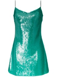 Natasha Zinko Sequinned Spaghetti Strap Mini Dress Green