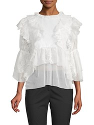 Kas Isabelle Ruffled Lace Blouse White