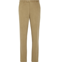 Brioni Slim Fit Leather Trimmed Brushed Cotton Trousers Brown