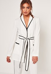 Missguided Piped Detail Tie Waist Blazer White