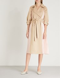 Huishan Zhang Pleated Panel Double Breasted Cotton Blend Trench Coat Moccasin Blossom