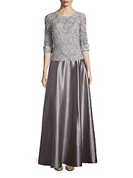 Js Collection Embellished Lace Gown Silver