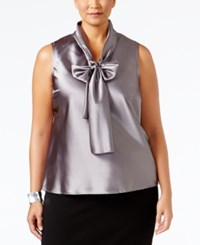Nine West Plus Size Tie Neck Blouse Platinum