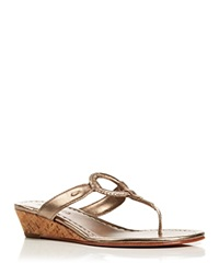 Bernardo Thong Wedge Sandals Matrix Platinum