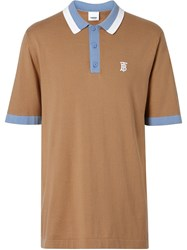Burberry Monogram Motif Tipped Cotton Polo Shirt Brown