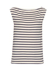 Saint Laurent Breton Stripe Sleeveless T Shirt Blue Stripe