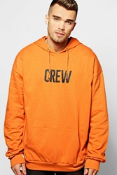 Boohoo Oversized Crew Print Hoodie Orange
