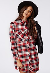 Missguided Emerey Oversized Shirt Dress Red Tartan Red