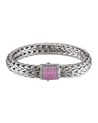 Classic Chain 11Mm Large Braided Silver Bracelet Pink Sapphire John Hardy