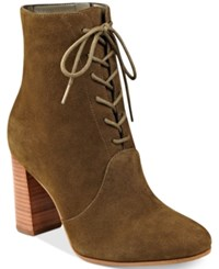 Marc Fisher Edina Block Heel Lace Up Ankle Booties Women's Shoes Khaki Green