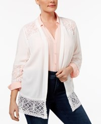 Ny Collection Plus Size Lace Inset Cardigan Ivory Temple