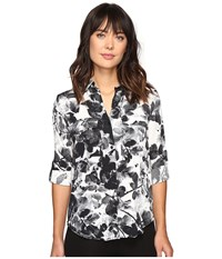 Calvin Klein Jeans Muted Utility Printed Long Sleeve Woven Shirt Marshmallow Women's Long Sleeve Button Up Blue