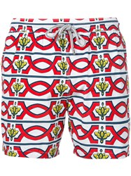 Capricode Geometric Print Swim Shorts Men Nylon L White