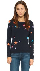 Chinti And Parker Cashmere Star Sweater Navy Base And Multi