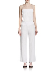 Saks Fifth Avenue Blue Strapless Linen Jumpsuit White