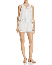 Aqua Sleeveless Eyelet Romper 100 Exclusive White