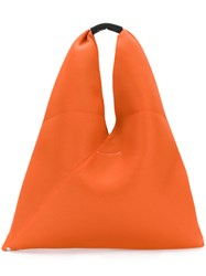 Maison Martin Margiela Mm6 Perforated Triangle Tote Women Leather Polyester One Size Yellow Orange