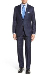 Hickey Freeman Men's Classic Fit Plaid Wool Suit