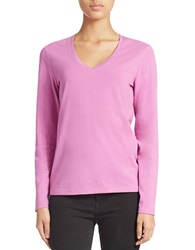 Lord And Taylor Stretch Cotton V Neck Tee Island Orchid