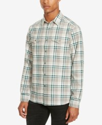 Kenneth Cole Men's Two Pocket Plaid Flannel Shirt White Combo