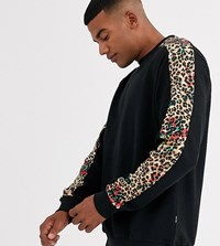Only And Sons Leopard Print Taped Sleeve Sweat In Black