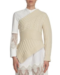 Burberry Cable Knit Cashmere One Shoulder Sweater White