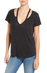 Pam And Gela Women's Split V Neck Burnout Tee Black