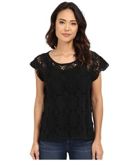 Bcbgeneration Embrace The Lace High Low Poncho Black Women's Short Sleeve Pullover