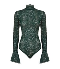 Alix Haven Lace High Neck Bodysuit Female Green